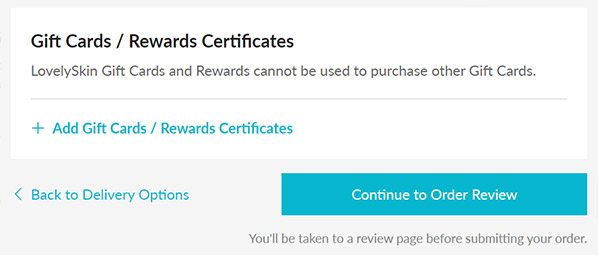 Enter your rewards certificate in the payment step of checkout underneath the credit card payment section.